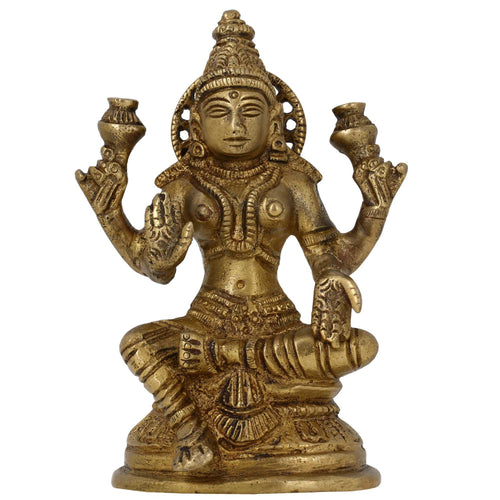 Hindu Goddess Statue Laxmi Idol Ornaments For The Home Brass Figurine 5 Inches