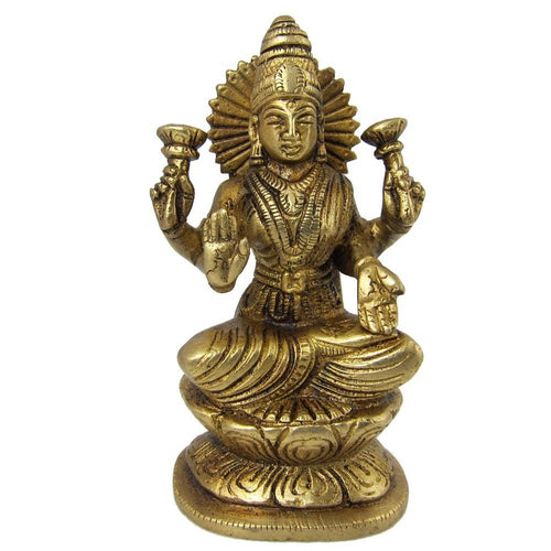 Laxmi Sculpture Religious Gifts Goddess Statue Brass Figurines 4 X 2.5 X 2 Inches