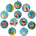 Set of 12 Turquoise Paper Mache Christmas Ornaments Handmade in Kashmir, India