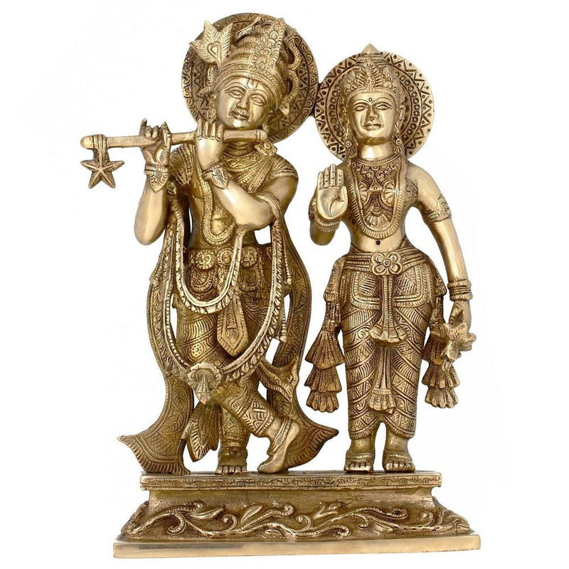 Hindu Decor Lord Krishna and Radha on Pedestal Brass Metal Art 12 Inches