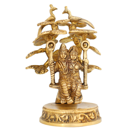 Indian Art Hindu Statue Radha and Krishna On Jhula Brass Figurine Sculpture 6""