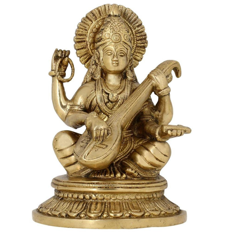 Indian Art Religious Home Décor Statue Hindu Goddess Saraswati Brass H: 7.75 Inches W: 2.51 Kg