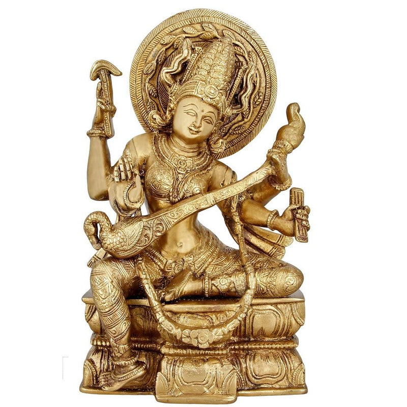 Indian Art Religious Gifts Brass Statue Goddess Saraswati For Puja Mandir 11 inch 3.9 Kg