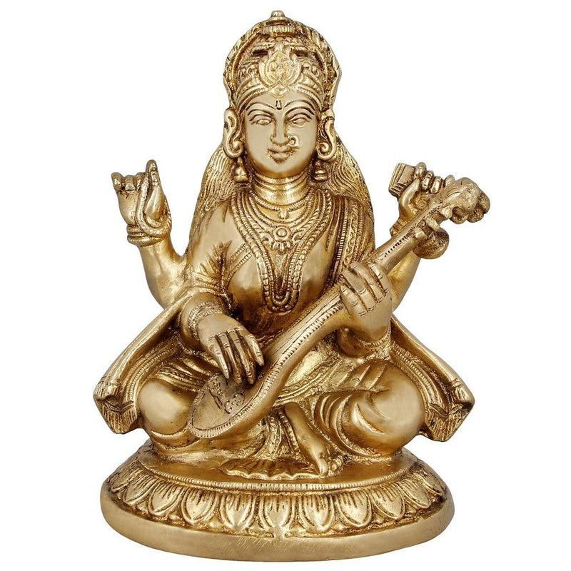 Religious Home Decor Brass Statue Hindu Goddess Saraswati Indian 7.5 Inches 2.5 Kg