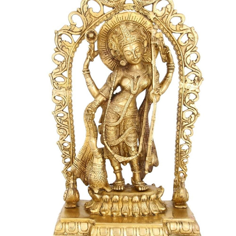 Standing Statue Of Hindu Goddess Saraswati Religious Gifts Large For Puja Mandir 17 inch 3.9 Kg