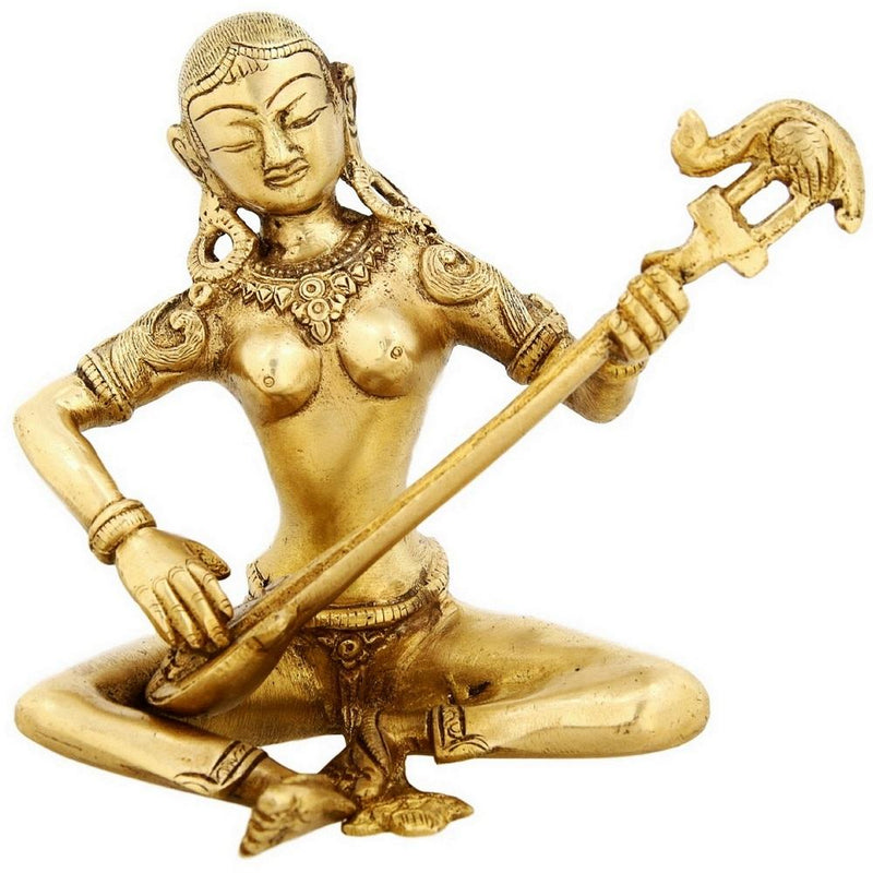Hindu Goddess of Music and Knowledge Saraswati Religious Sculpture Indian Home Decor 5 inch 1.08 Kg
