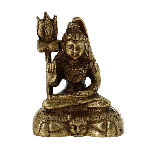 Seated Shiva Statue Brass Religious Indian Art Hinduism Gifts Decor 2.75 Inch