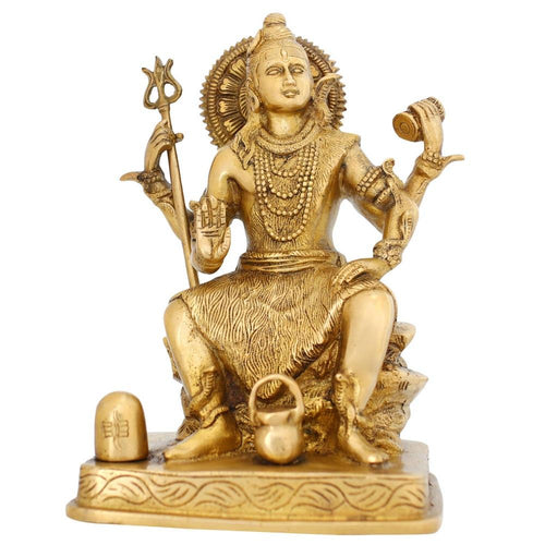 Brass Metal Art Hindu God Seated Shiva Statue Indian Spiritual Home Decor Religious Gift 8.5 Inches 3.2 Kg