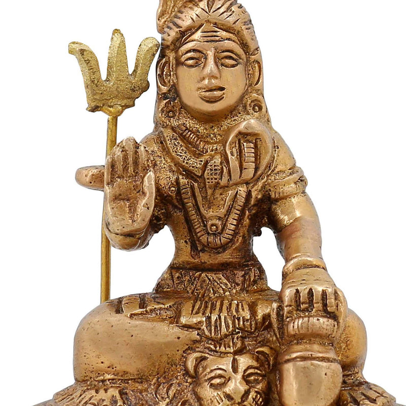 Brass Metal Art Indian Decor Religious Gift Lord Shiva Statue 2.75 inch,250 GR