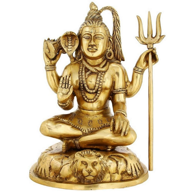 Religious Gift Hindu God Shiva Brass Statue Large Indian Home Decor 12.5 Inches 6.3 Kg