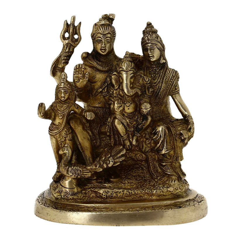 Shiva and Parvati with Family Brass Statue Indian Gift H: 6 Inches, Wt: 1.4 Kg