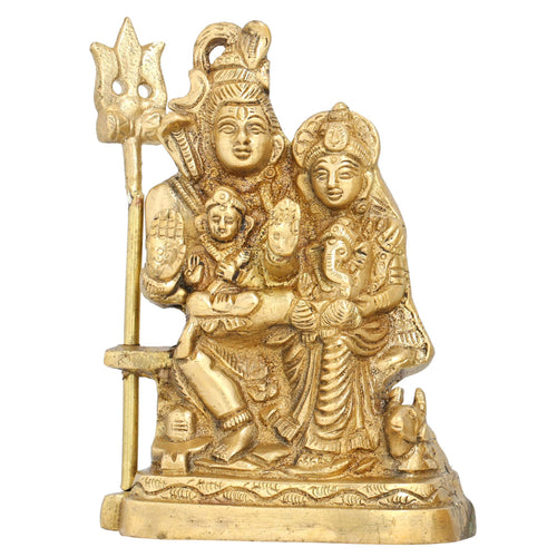 Hindu Statue Shiv and Parvati Holding Kartikeya and Ganesh on Lap Brass 5 Inch