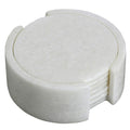 Six Tea Coaters and A Holder Set; White Marble Stone; Handcrafted by Artisans, Round