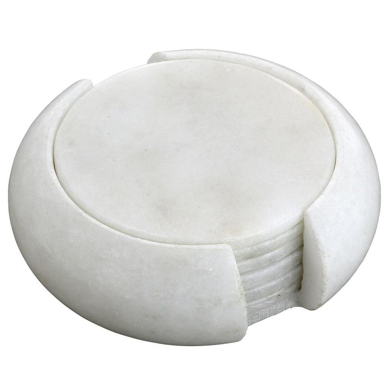 Six Tea Coaters and A Holder Set; White Marble Stone; Handcrafted by Artisans, Cylindrical