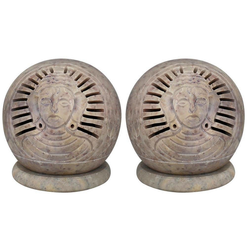 Set Of 2 Indian Decor  Tealight Candle Holder Soap Stone Buddha 3 Inch Lamps Diwali Gifts