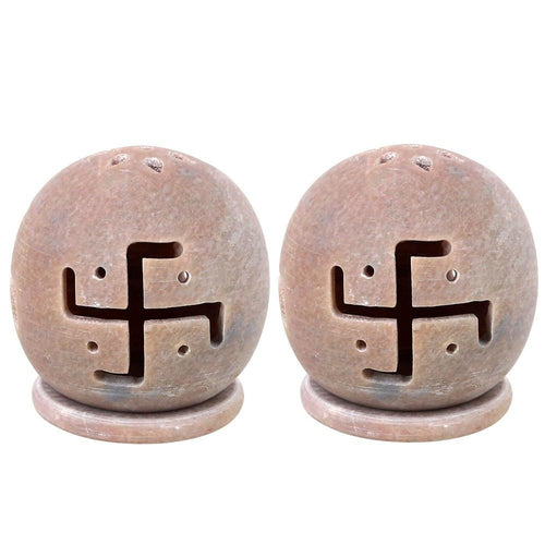 Hinduism DŽcor Handmade Indian Gifts Items Tealight Candle Holder Lamps Stoneware Swastik 3 Inch Set Of 2