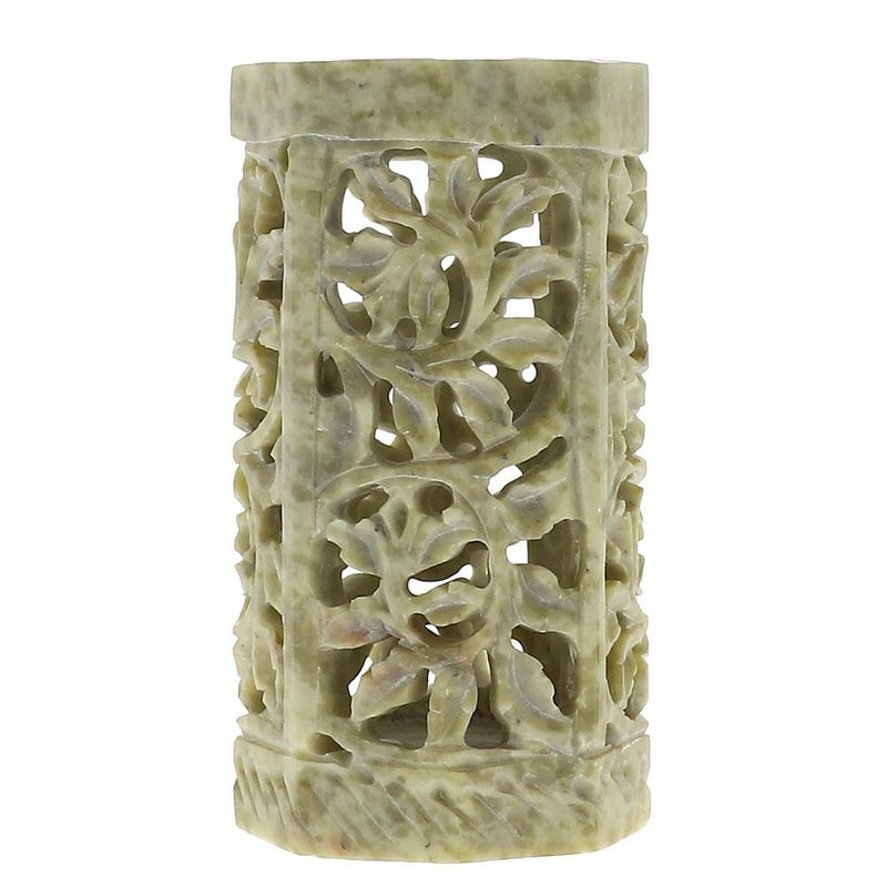 Indian Soap Stone Pen Stand Pencil Holder Floral Lattice Work Stoneware 4 Inches