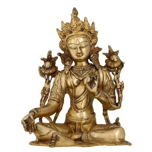 Seated Tara Buddha Statue Buddhist Art Indian Gifts Brass Metal 8 Inches