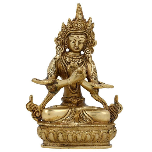 Seated Tara Buddha Statue Buddhist Art Indian Gifts Brass Metal 5.75 Inches -582 Grams