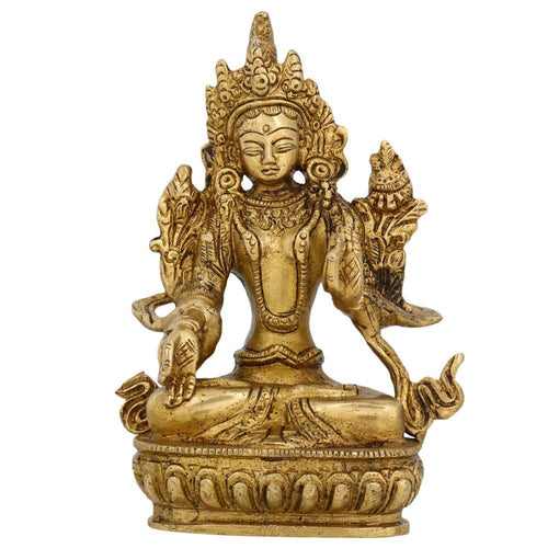 Buddhist Gifts Brass Metal Art Seated Tara Buddha Statue 5.5 Inches -554 Grams