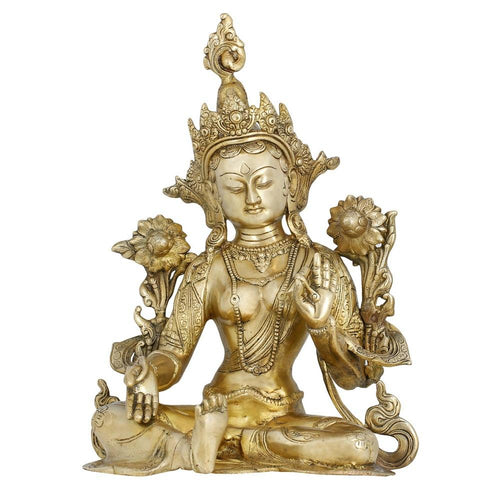 Indian Home Decor Hinduism Brass Metal Art Tara Buddha Statue sitting Buddhist Gifts 15.5 Inches
