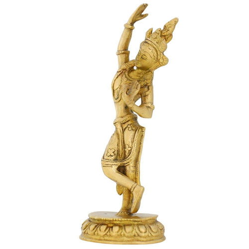 Indian Art Buddhist Home Décor Standing Tara Buddha Brass Statue Religious Gifts H: 8.5 Inches Wt: 880 grams