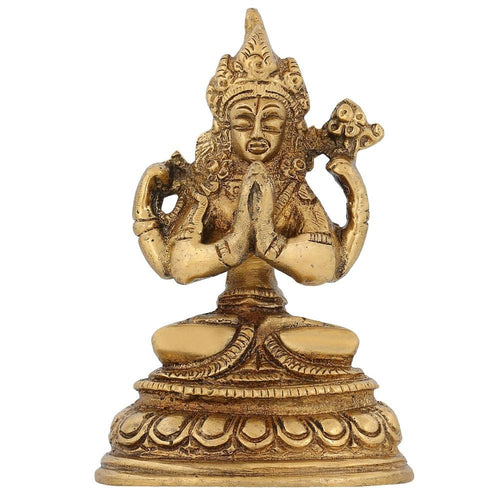 Religious Figure Buddhism Tara Buddha Statue Sitting Brass Indian 3 inch -150 Gram