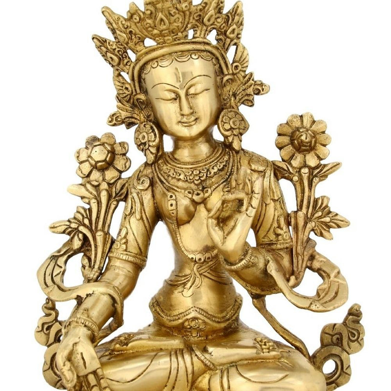 Buddhist Home Decor Sitting Tara Buddha Brass Statue Religious Gifts 10.5 Inches2.9 Kg