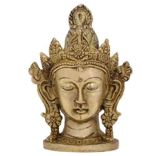 Buddhist Art Tara Buddha Head Home Decor Brass Metal Statue 6 Inches Weight 1 Kg