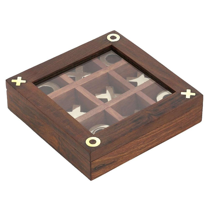 Handmade Brass and Wood Tic Tac Toe Game for Kids - Noughts and Crosses Game