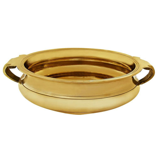 "Handmade Brass Urli - 3.5"" by 10"" Uruli Bowl - Suitable for Decorating Offerings & Even Serving Food - Artisan Crafted in India"
