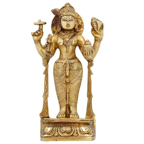 Brass Metal Religious Gifts Hindu Statue God Vishnu Standing Puja Accessories for Mandir Contemporary Art 7.5 Inch -1.22 Kg
