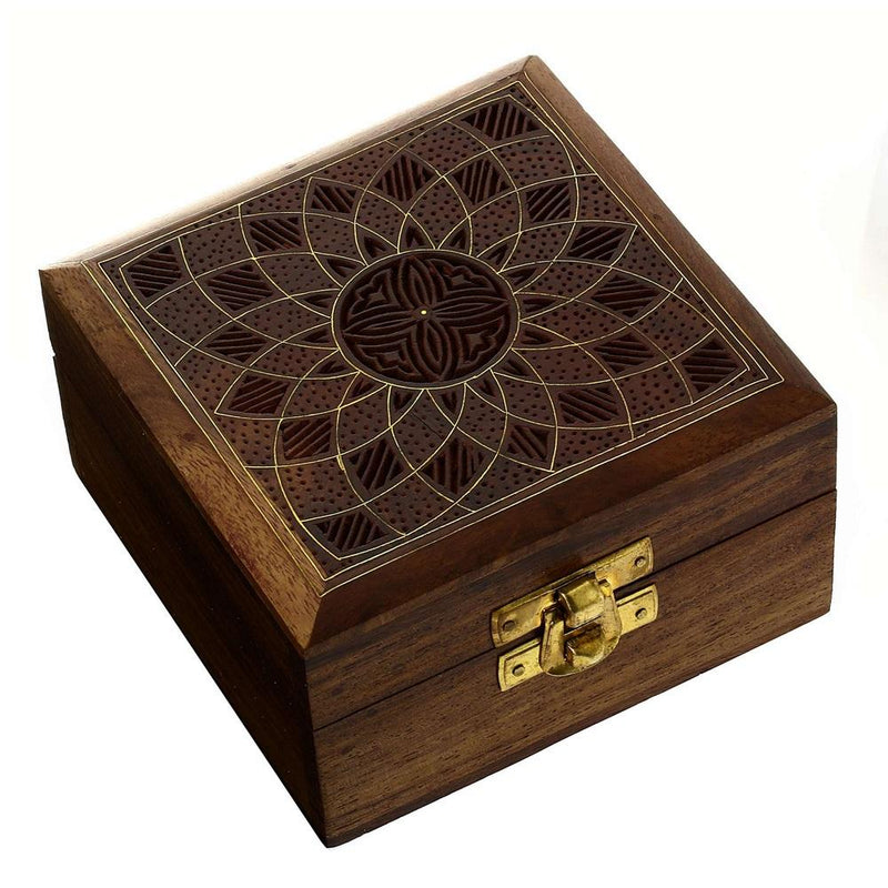 Wooden Jewelry Box for Women Floral Art Decor Inlay 4x4x2.25 Inches