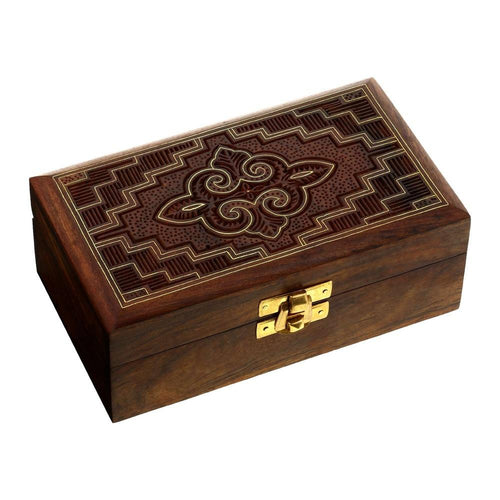 Jewelry Box in Wood Islamic Art Handmade Inlay and Carving 6x3.3x2.25 Inches