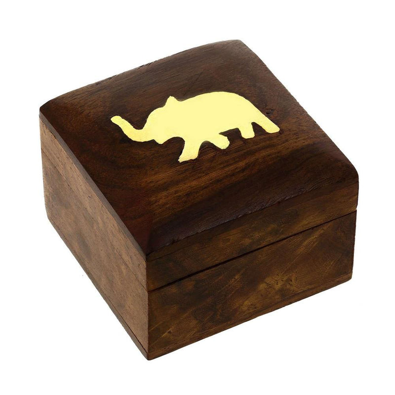 Indian Elephant Jewelry Holder - 2x2x1.5 Inch Small Wood Box - Jewelry Boxes for Necklaces - Wedding Gift