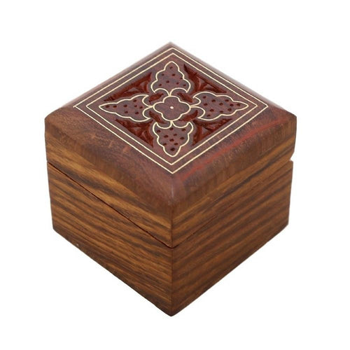 ShalinIndia Wooden Box for Jewelry Handmade Indian - Perfect for Rings,2X2X2 Inch,wc_ring_box_7