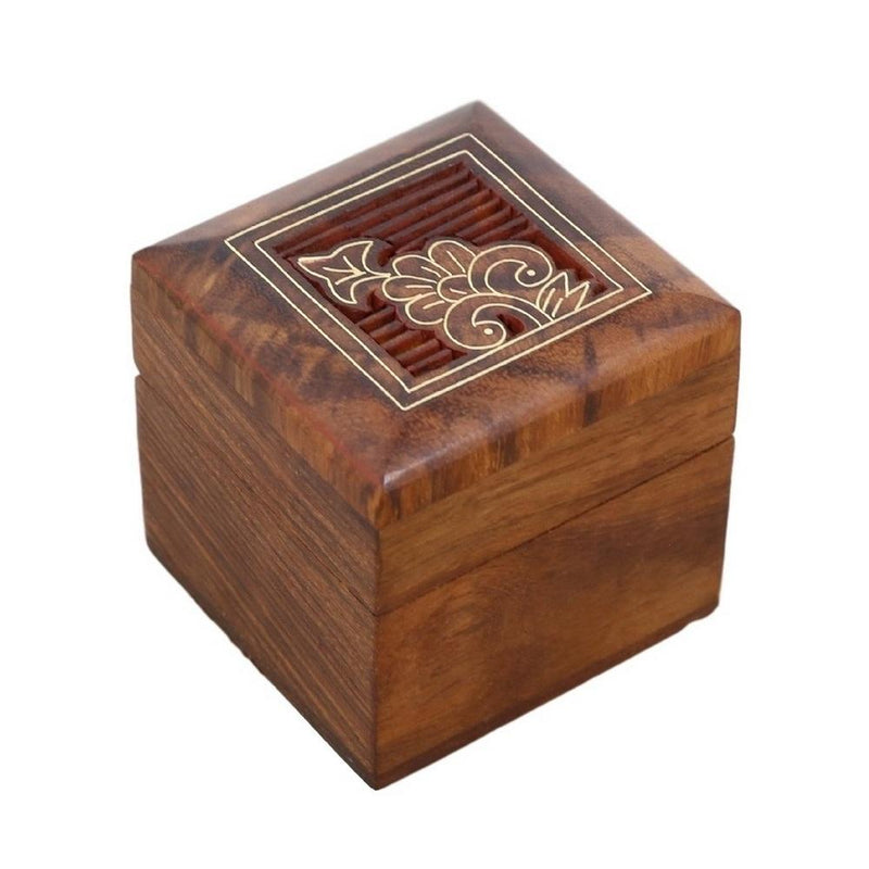 ShalinIndia Wooden Box for Jewelry Handmade Indian - Perfect for Rings,2X2X2 Inch,wc_ring_box_8