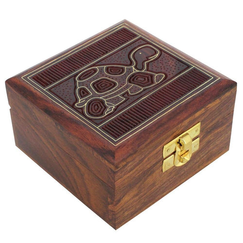 ShalinIndia Handmade Indian Turtle Wooden Jewelry Box - 4x4x2 Inch - Artisan Crafted Sheesham Wood Brass
