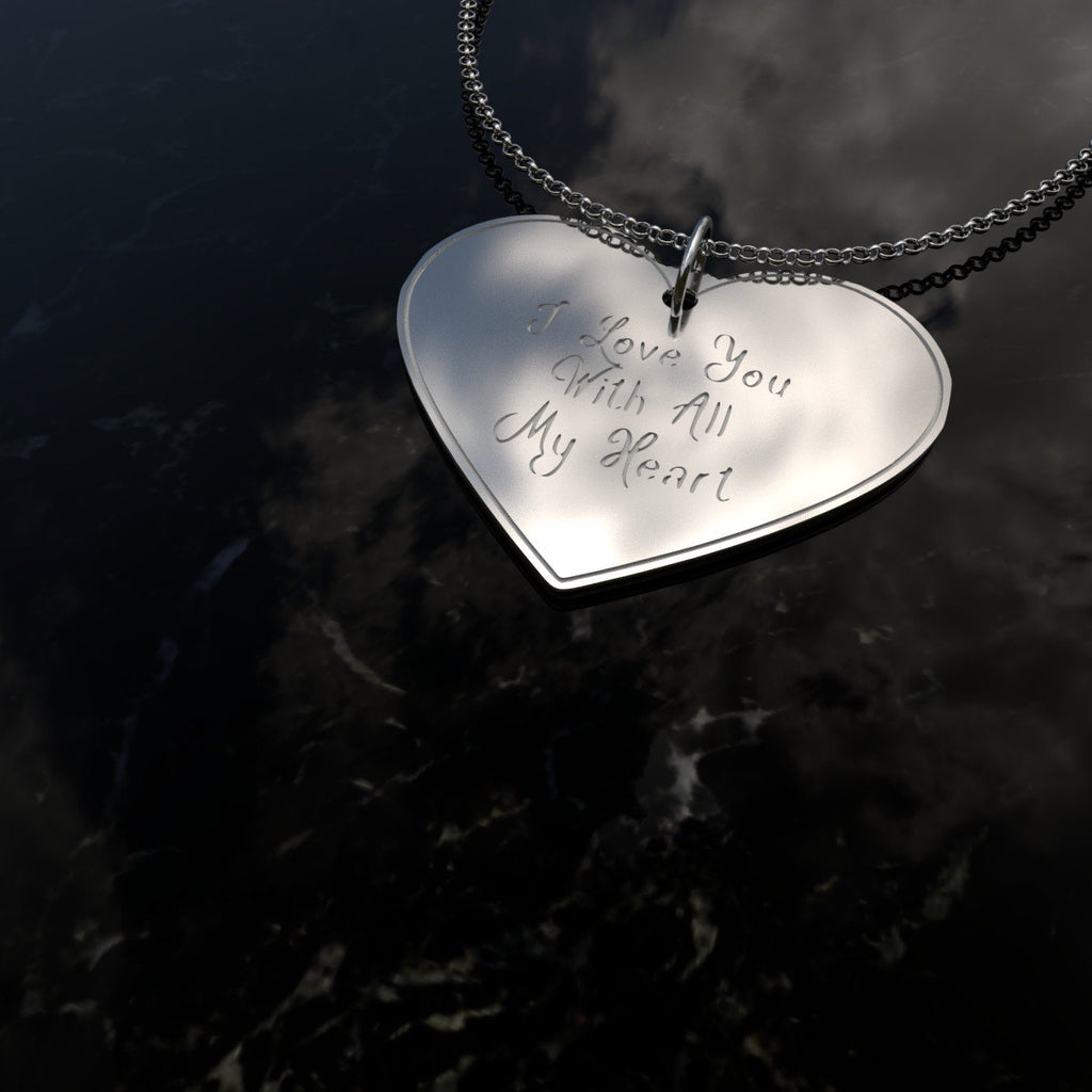 I Love You With All My Heart - Sterling Silver Jewlery