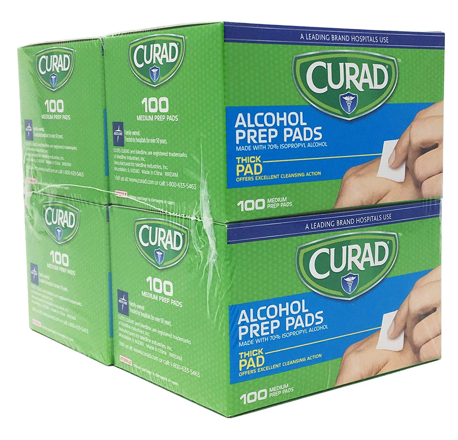 Curad Alcohol Prep Pads , Thick Alcohol Swabs