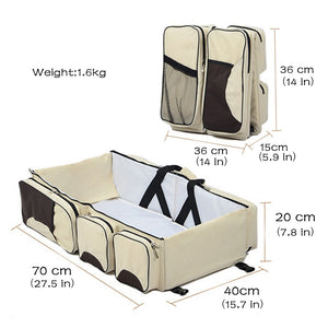 3-In-1 Travel Diaper Bag, Portable Bassinet & Changing Pad