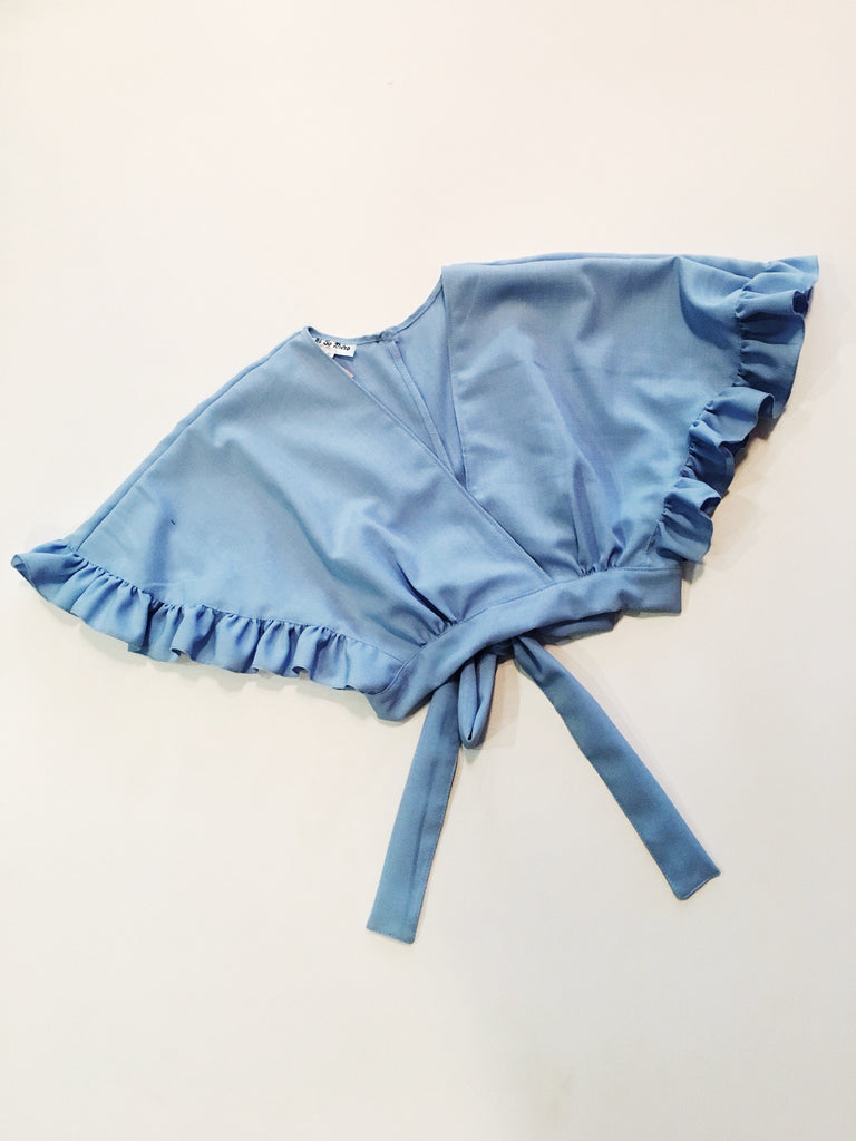 Frilly Wrap Top - Blue