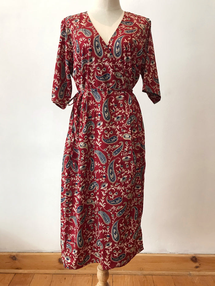 Red Paisley Wrap Dress
