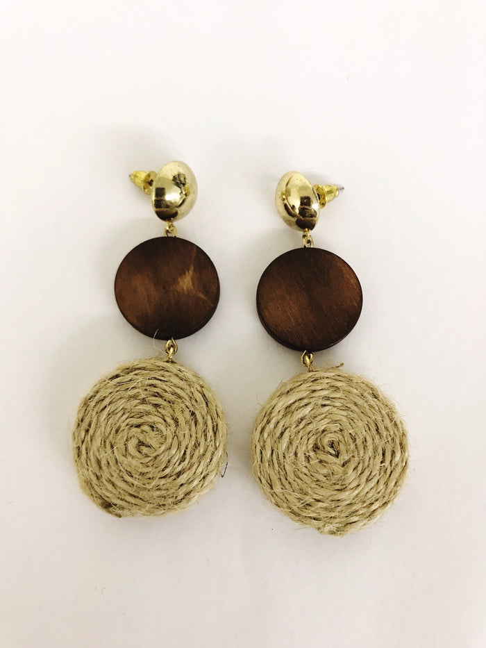 Wood and Rope Earrings