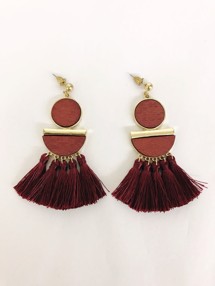 Wood and Tassel Earrings (3 Colours)