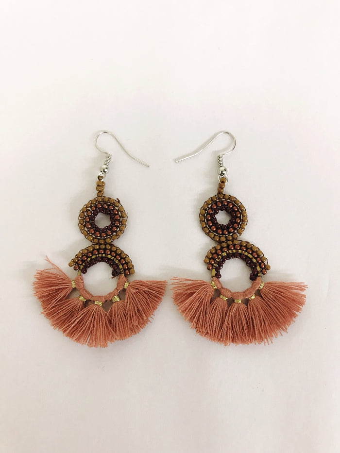 Bead and Tassel Earrings