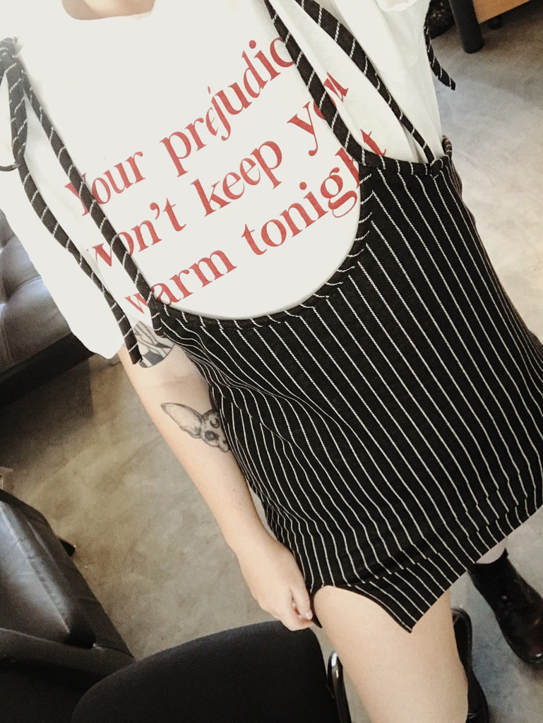 Overall Pin Stripe Strappy Dress