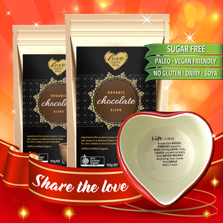 ** THE CHOCOLATE HEART PACK: Buy Two 100g SUGAR FREE Chocolate Blend packs and the Mindful Love Mug for only $49.95! SAVE $15.00!