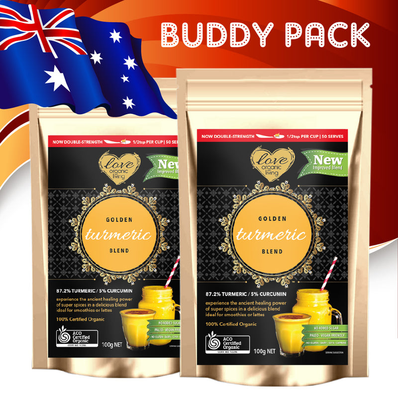 ** BUDDY PACK: Buy Two 100g Golden Turmeric Blend packs for ONLY $39.95 - SAVE $10.00!