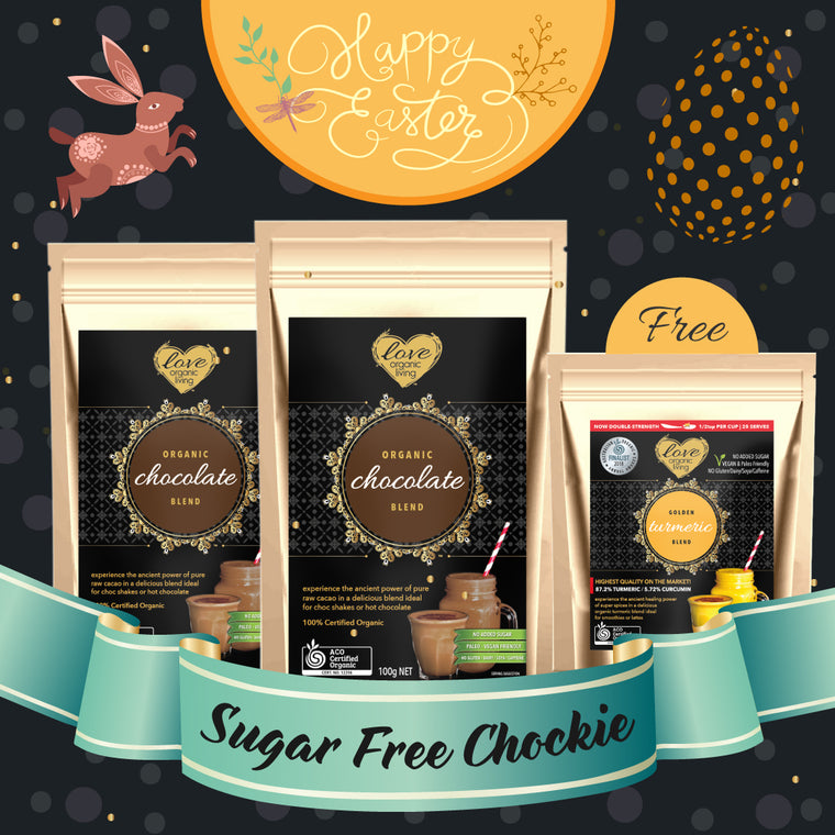 ** EASTER OFFER: Buy 2 x 100g Love Organic Living Chocolate Blend bags and get a 50g bag of Love Organic Living Golden Turmeric for FREE!!